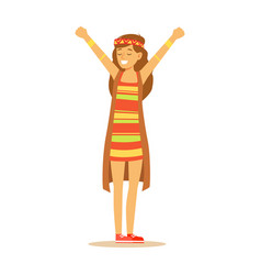 girl hippie dressed in classic woodstock sixties vector image