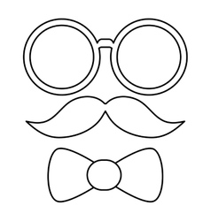 glasses mustache and bowtie vector image