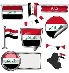 Glossy icons with Iraqi flag vector image