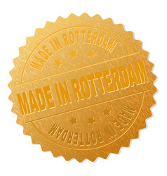 Golden made in rotterdam badge stamp vector