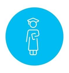 Graduate line icon vector