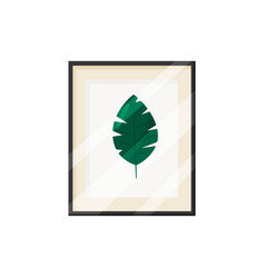 Green leaf in frame on white background vector