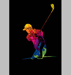 group golf players action cartoon sport graphic vector image