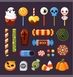halloween candies flat isolated vector image