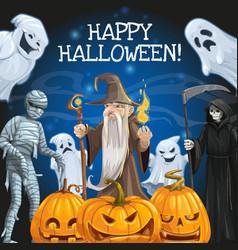Halloween ghosts pumpkins mummy and skeleton vector