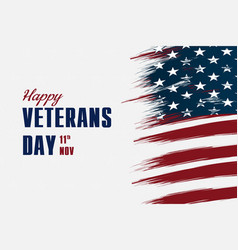 happy veterans day flag design over american vector image