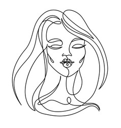 Happy woman kissing one line art portrait vector