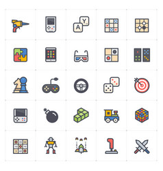 Icon set - game and toy full color vector