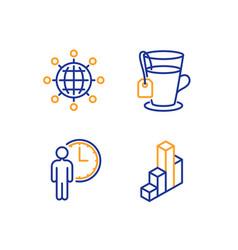 international globe waiting and tea icons set 3d vector image