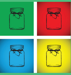 Jam jar colourful set vector