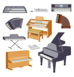 Keyboard musical instruments isolated on white vector