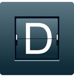 Letter D from mechanical scoreboard vector