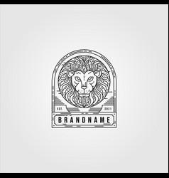line art lion logo vintage design lion animal vector image