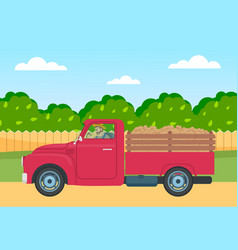 Lorry with potato harvest in back on a rural vector