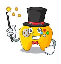 Magician retro computer game control on mascot vector