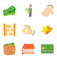 Material wealth icons set cartoon style vector