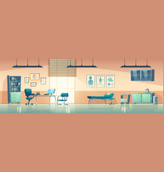 Medical office interior empty clinic doctor room vector