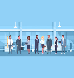 Mix race team of business people in modern office vector