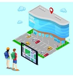 Mobile Navigation Isometric Concept Tourist vector