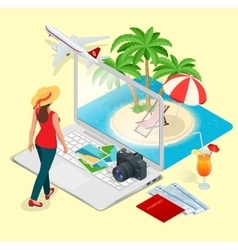Modern concept traveling booking online vector
