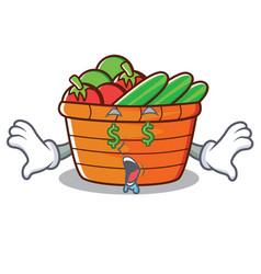 Money eye fruit basket character cartoon vector
