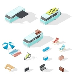 Motorhome and camping accessories isometric icons vector image