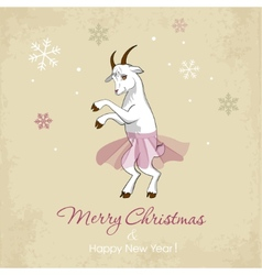 New Year card with a dancing white goat vector image