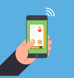 nfc tehnology non-contact payment by smartphone vector image