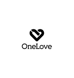 Number one with love logo design concept vector