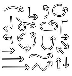 outline arrows set curved icons vector image