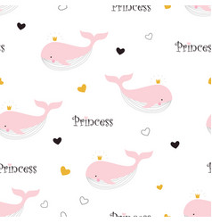 pattern with princess whale vector image