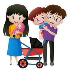 people in family with newborn baby vector image