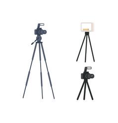 Photographic equipment semi flat rgb color set vector