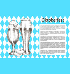 pilsner tulip beer glass with foam promo poster vector image