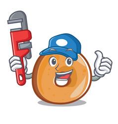 Plumber bagels mascot cartoon style vector