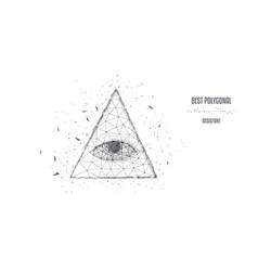 polygonal eye in pyramid a one-dollar bill vector image