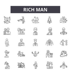 rich man line icons signs set outline vector image