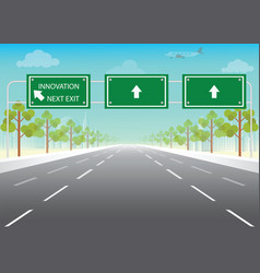 Road sign with innovation next exit words vector