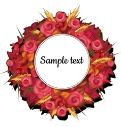 Round frame with flowers of roses with text vector image