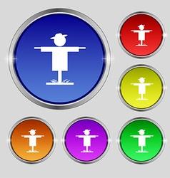Scarecrow icon sign Round symbol on bright vector image