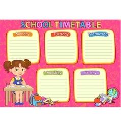 School timetable image vector