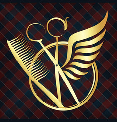 Scissors with wings of gold color vector
