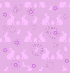 seamless easter pattern with rabbits and eggs vector image