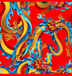 Seamless pattern with chinese dragons vector