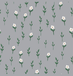 Seamless pattern with small white simple flowers vector