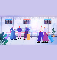 senior people with luggage discussing during vector image