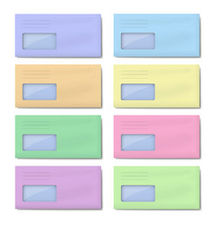 set of dl color envelopes with window for address vector image