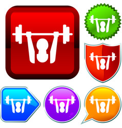 Set shiny icon series on buttons weightlifting vector