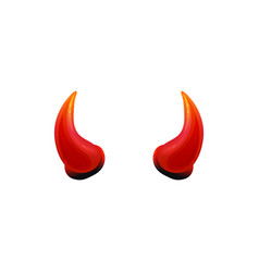 shiny red devil horns isolated on white background vector image