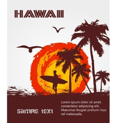 Silhouette of the surfer tropical beach vector